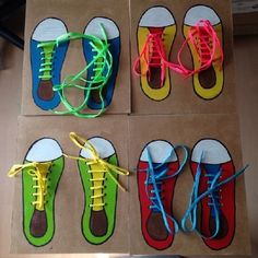 Shoe tying on cardboard diy Motor Skills Activities, Preschool Learning Activities, Infant Activities, Preschool Activities, Teaching Kids, How To Tie Shoes, Montessori Practical Life, Kids Education, Kids And Parenting