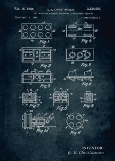 1962 - Toy building element including a rotatable bushing Art Print by Xavier Vieira - X-Small Lego Wheels, Wheel Tattoo, Poster Prints, Art Prints, Posters, Lego Construction, Lego Technic, Patent Prints, Print Artist