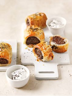 Mint And Chilli Lamb Sausage Rolls With Tzatziki | Donna Hay