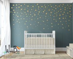 Silver Stars Wall Decals for Outer Space Nursery Decor