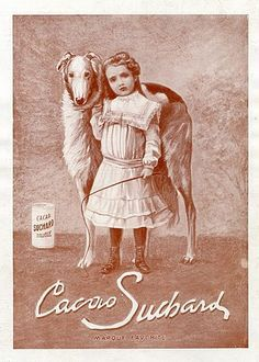 ❤ =^..^= ❤  Suchard advert with child and borzoi.