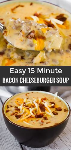 Bacon Cheeseburger Soup is a hearty soup recipe that can be whipped up in just fifteen minutes. This tasty dish made with Campbell's Cream of Bacon soup and Campbell's Cheddar Cheese soup is loaded with ground beef real bacon bits and cheddar cheese. Campbells Soup Recipes, Hearty Soup Recipes, Healthy Recipes, Keto Recipes, Recipes With Bacon Easy, Bacon Cheeseburger Soup, Bacon Soup, Carne Asada, Sopa Campbell
