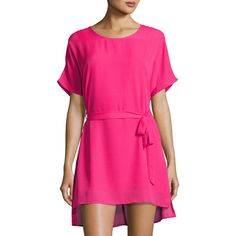 Lucca Couture Short-Sleeve Belted Dress ($38) ❤ liked on Polyvore featuring dresses, fuchsia, fuchsia dresses, short-sleeve shift dresses, high low dresses, short sleeve shift dress and fuchsia pink dress