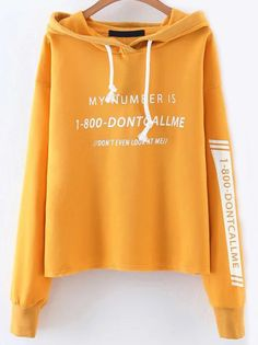 Shop Yellow Letter Print Drawstring Hooded Sweatshirt online. SheIn offers Yellow Letter Print Drawstring Hooded Sweatshirt & more to fit your fashionable needs.