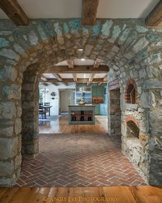 Massive stone archways, brick floors and rustic wooden beams are just some of the fine details found in the new kitchen of this historic farmhouse. Renovation and expansion of the historic home led by Period Architecture, Ltd. of West Chester, PA. Stone Archway, Brick Flooring, Floors, Interior Design Photos, Traditional Kitchen, My Dream Home, Future House, Sweet Home, New Homes