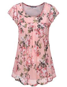 Looking for Furnex Women's Short Sleeve Tunics Shirt Floral Pleated Front Mesh Blouses Tops ? Check out our picks for the Furnex Women's Short Sleeve Tunics Shirt Floral Pleated Front Mesh Blouses Tops from the popular stores - all in one. Casual Summer Outfits, Classy Outfits, Stylish Outfits, Tops Online Shopping, Spring Shirts, Tops For Leggings, Tunic Shirt, Casual Tops, Work Casual