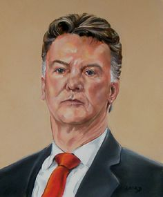 """'Louis van Gaal' by Katharine Laird. Portrait of the Manchester United manager Louis van Gaal 16"""" x 24"""""""