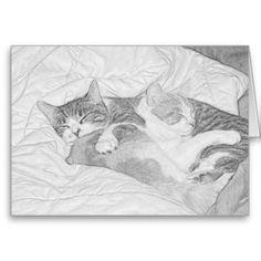 #Sleeping #Kittens #Grey #Greeting #Cards