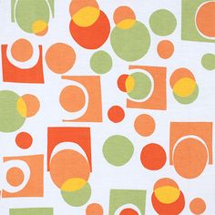 "Orange Green Geo Modal Cotton Spandex Blend Knit Fabric - A super soft, modal cotton rayon spandex blend knit fabric in white with a mod geo design in fun colors of orange, yellow, and green.  Fabric is light to mid weight, with a soft hand and good drape, 4 way stretch.  Largest circles and squares measures 2 1/4"" (see image for scale).  ::  $7.00"
