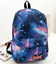 Shining Galaxy Flag College Student Backpacks #student #Bag #Backpack #galaxy