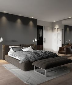 43 Wonderful Bachelor Bedroom Design Ideas That Looks So Awesome - A bedroom should be the coziest corner of the house. After a hectic day at work when you come back home, the bedroom simply lures you with its compact. Simple Bedroom Design, Luxury Bedroom Design, Master Bedroom Design, Grey Bedroom Decor, Bedroom Setup, Home Bedroom, Bedroom Ideas, Bedroom Wall, Bedroom Furniture