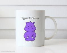 Funny Miss You Gift Goodbye Farewell Hippo Pun Coffee Mug Quote Mugs For Friend Birthday Cute Fun Missing Thinking Of Gifts Mugs Her Him  I Hippopotamiss You...thinking about someone who lives far away or been away for awhile? This sweet hippo mug is the perfect gift for friends, family, your significant other, hippo and pun lovers alike! Send this funny mug to say how much you miss them and surely brighten their day! Design is printed on both the front and back so its cute face can be seen…