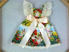 """ Easter Bunny and Vintage Lace Pinafore Dress... 