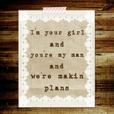 Miranda Lambert Makin Plans song lyrics Poster print 8x10 wedding reception decor. love this song