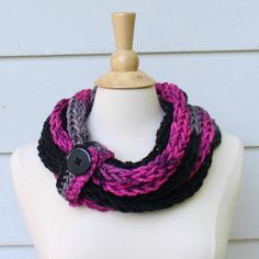 Hand knit chunky cowl  Pink gray and black infinity scarf with button closure by spinningsheep on #etsy