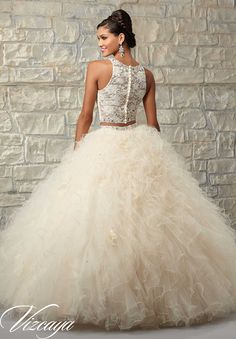 89026 Quinceanera Gowns Two-Piece Ruffled Tulle Skirt with Lace Bodice and Beading.