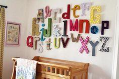 Letras decorativas hechas con cartón