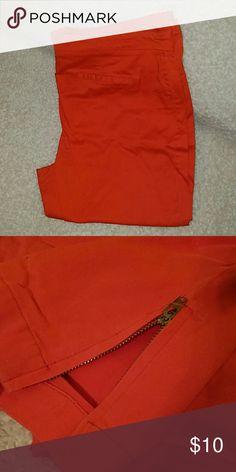 Bright Orange Dress Capri Pants Bright Orange Dress Capri Pants.  Tapered ankle with zipper adjustable closure.  Size 14. Used - great condition! Pants Capris