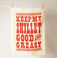 I bought this exact dish towel from the Loveless Cafe in Nashville, TN. One of my favorites. And now I'm craving biscuits.