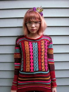 Tavi + Feminism sweater given to her by Kathleen Hanna! I want this awesome sweater~