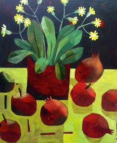Este MacLeod Primula and pomegranates Acrylic on wood 50x60cm Oak framed