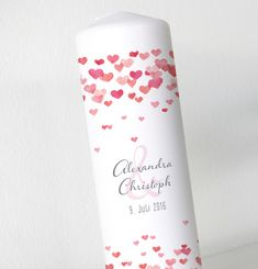 Hochzeitsdeko - Hochzeitskerze - Herzchen - Aquarell - inkl. Box - ein Designerstück von printsonalities bei DaWanda