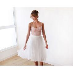 Ivory tulle skirt , Midi skirt , White wedding skirt , Tea length tulle skirt , Adult tulle skirt