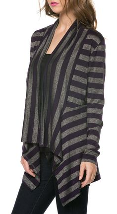 Plum & Charcoal Stripe Open Cardigan