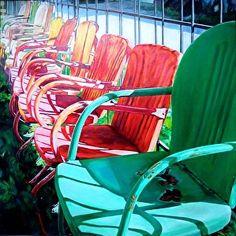 One Green Chair by artist Katrina Methot-Swanson. (oil) Found on the FASO Daily Art Show -- http://dailyartshow.faso.com