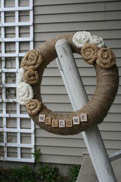 Burlap Wreath/Scrabble Letters/Burlap Roses/Wedding. $35.00, via Etsy.