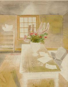 Eric Ravilious (English, 1903-1943), Garden flowers on cottage table, c.1937-38. Pencil and watercolour, 22½ x 18 in