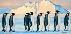 Artwork >> Pierre Vanmansart >> #artworks, #masterpiece, #art, #painting, #birds, #penguins