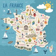 Travel and Trip infographic Travel infographic - Vector stylized map of France. Travel illustration with french landmarks, people. Map France, France Travel, Travel Maps, Travel Posters, Food Travel, Road Trip France, Country Maps, Brest, Rouen