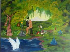 Garten Eden Acryl auf Leinwand  Format 80x60 Surrealism, Painting, Fantasy World, Canvas, Pictures, Painting Art, Paintings, Painted Canvas, Drawings
