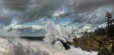 Waves shooting over Shore Acres Gardens along the Oregon Coast. Photographer is Steven Michael