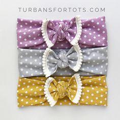 Polka Dots & Pom-Poms SET, baby headbands, baby headwraps, baby shower, baby gift, newborn bow