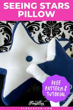 This easy-to-make star pillow is a great addition to your home decor. Find the free pattern and step-by-step instructions. This easy tutorial is great for all levels of crafters. This is a wonderful weekend sewing crafting project. This pillow makes a wonderful handmade gift! Sewing Patterns Free, Free Pattern, Print Patterns, Sewing A Button, Hand Sewing, Sewing Projects, Craft Projects, Sewing Essentials, Pillow Tutorial