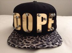 leopard print snapback DOPE 3d acrylic letter,