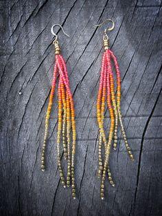 Neon Rainbow Fringe Earrings Seed Bead Fringe Summer von Kadhi