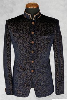 Buy Black presentable velvet suit with bandhgala collar Online Wedding Dresses Men Indian, Wedding Dress Men, Wedding Suits, Indian Men Fashion, Mens Fashion Suits, Mens Suits, African Fashion, Dress Suits For Men, Men Dress