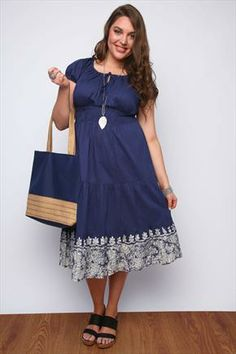 Navy Cotton Gypsy Midi Dress With Embroidered Hem
