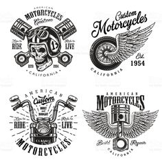 Set of custom motorcycle emblems royalty-free set of custom motorcycle emblems stock vector art & more images of logo
