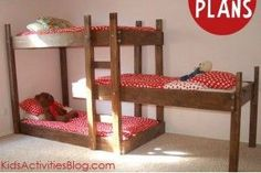 diy bunk beds for three kids on pinterest | Build A Bed} Free Plans for Triple Bunk Beds ... | DIY/Tuts: just fo ...