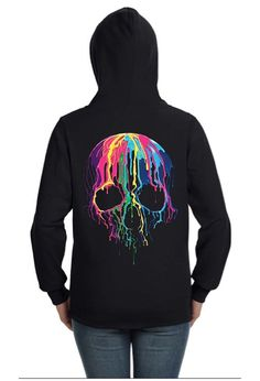 Colorful Dripping Skull Zip Up Hoodie by FashionVixenClothing