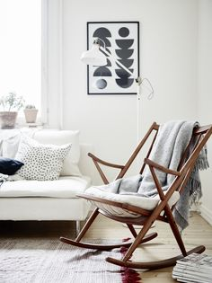 This floor looks really nice-- Danish Teak Rocking Chair in the Manner of Frank Reenskaug for Bramin Møbler Decoration Inspiration, Interior Inspiration, Decor Ideas, Creative Inspiration, Home Living Room, Living Spaces, Teak Rocking Chair, Piece A Vivre, Deco Design