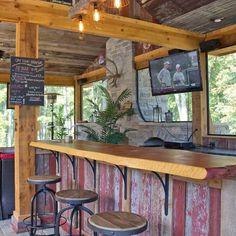 10 Inspiring Outdoor Bar Ideas The Family Handyman with Backyard Tiki Bar Ideas Rustic Outdoor Bar, Outdoor Bar And Grill, Outdoor Tiki Bar, Outdoor Kitchen Bars, Rustic Patio, Outdoor Bars, Rustic Outdoor Kitchens, Portable Outdoor Bar, Patio Kitchen