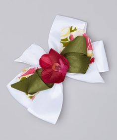 Heavenly Things for Angels on Earth White & Green Flower Bow Clip