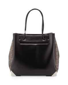 Prisma+Large+Croc-Embossed+Calfskin+Tote+Bag,+Black+by+Alexander+Wang+at+Neiman+Marcus.