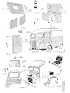 Citroën Type HY blueprints and patent.