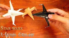 Tutorial cara membuat origami star wars x wing starfighter
